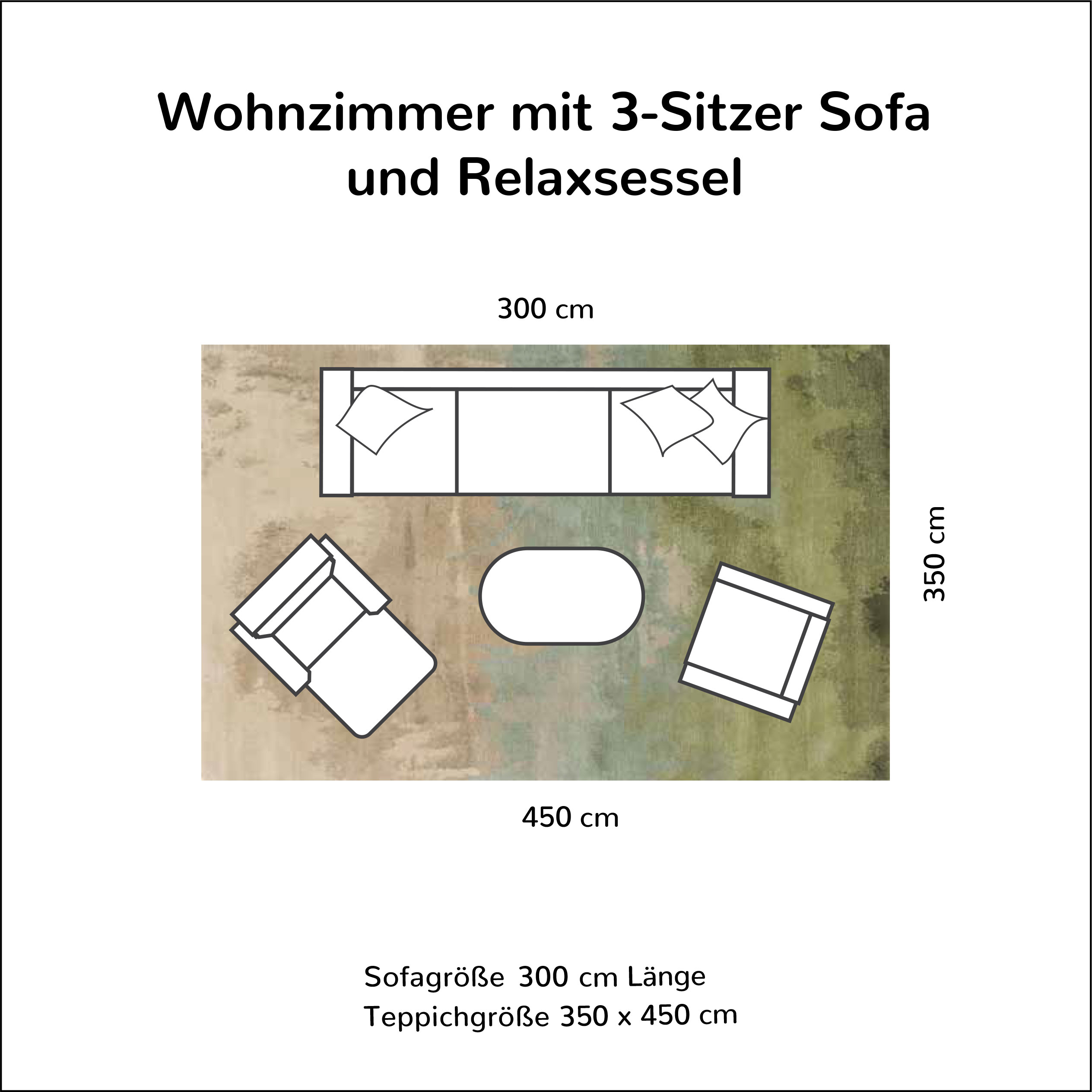Wohnzimmer mit 3-Sitzer Sofa und Relaxsessel