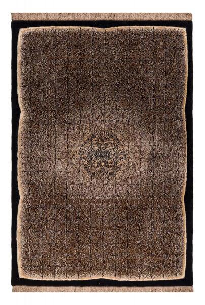 Imperial Edict Designerteppich, Wolle und Seide, handgeknüpft, braun/schwarz, Draufsicht