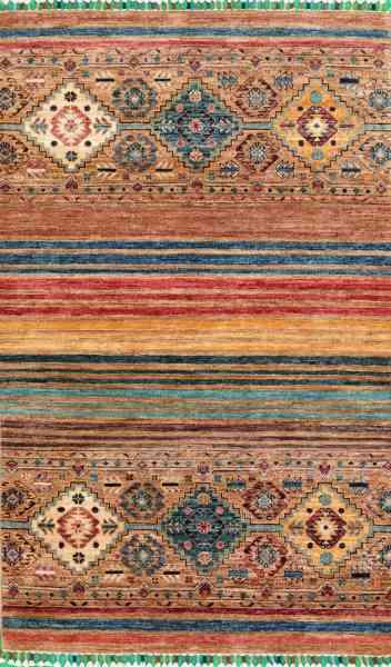 Afghanischer Teppich Smaragd 96 x 153 cm, von Hand geknüpft, reine Schurwolle, mehrfarbig, Draufsicht