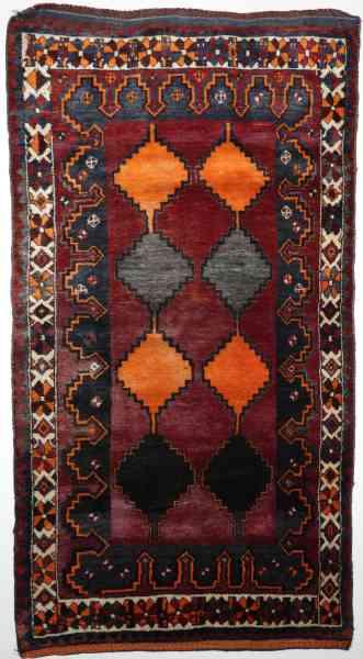 Persischer Nomadenteppich Lory, handgeknüpft aus reiner Schurwolle, rot/orange/mehrfarbig, Draufsicht
