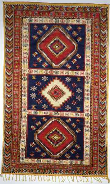 Original marokkanischer Ouzguit aus den 60/70er Jahren, handgeknüpft, mehrfarbig, Draufsicht