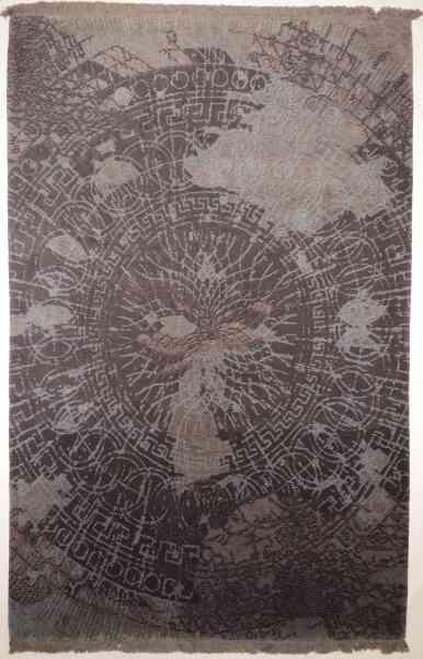 Perserteppich, contemporary, hochwertiges Teppichunikat handgeknüpft aus Bester Schurwolle und Seide, Draufsicht