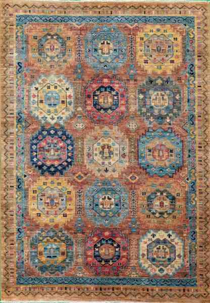 Afghanischer Teppich Rubin Design, von Hand geknüpft, reine Schurwolle, mehrfarbig, Detailansicht