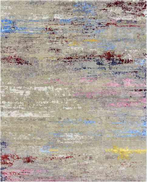 Handgeknüpfter indischer Teppich aus Wolle, Bambusseide und Nesselfasern, mehrfarbig, Draufsicht