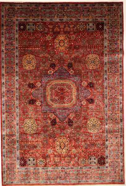 Handgeknüpfter Orientteppich Mamlouk, aus handversponnener Schurwolle, rot, mehrfarbig, mit Mittelmedaillon, Draufsicht