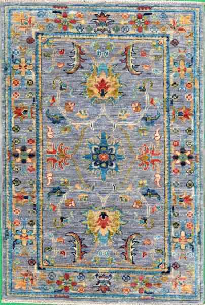Afghanischer Teppich Rubin, handgeknüpft aus Schurwolle, mehrfarbig, Draufsicht