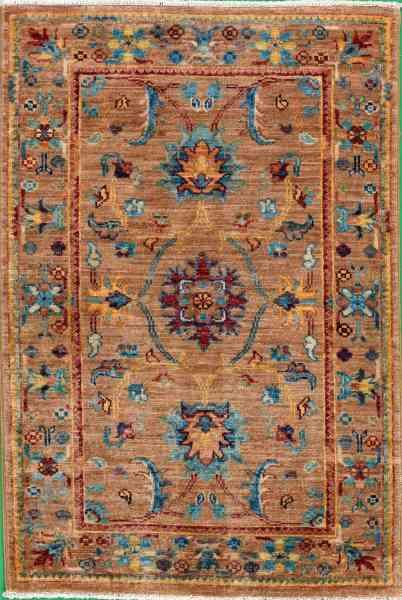 Afghanische Teppich - Brücke Rubin Gold, handgeknüpft, Schurwolle, mehrfarbig, Draufsicht