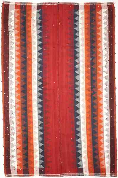 Kelim Teppich modern, handgewebt, Schurwolle, mehrfarbig, Draufsicht