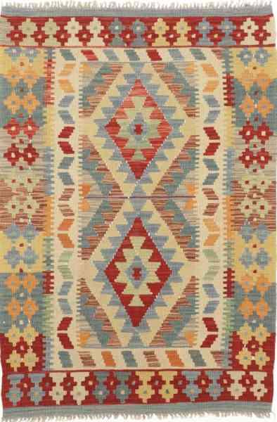 Afghanischer Kelim, handgewebt aus Wolle, 82 x 122 cm, mehrfarbig, Draufsicht
