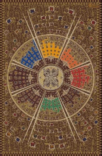 Persischer Designerteppich, handgeknüpft aus Wolle und Seide, mittig das Motiv Lebensrad, Grundton braun mit verschiedenen Farben, Draufsicht