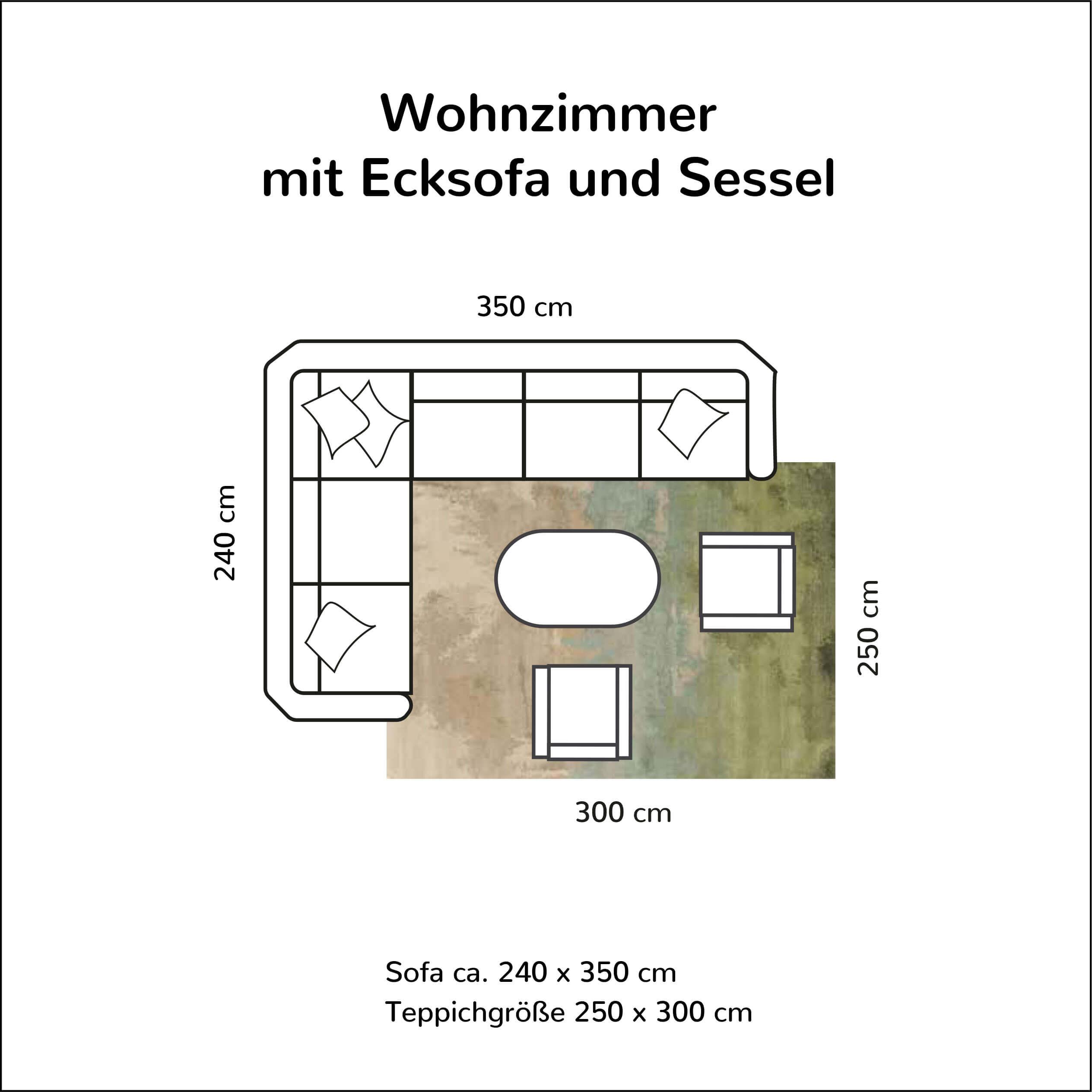 Wohnzimmer mit Ecksofa und Sessel