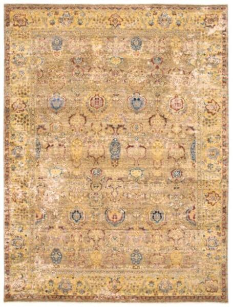 Designerteppich Primo Gold, handgeknüpft aus Wolle, Seide und Metallfäden in Gold, Draufsicht