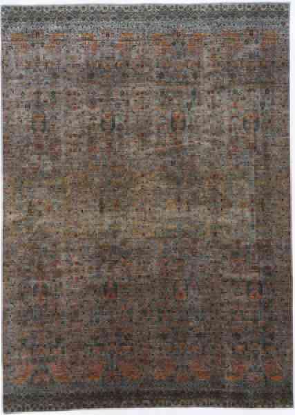Afghanischer Orientteppich, handgeknüpft aus Schurwolle, flachflorig, mehrfarbig, Draufsicht
