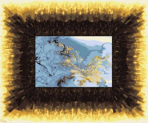 Hochwertiger, persischer Designerteppich, handgeknüpft aus Wolle und Seide, Rahmen gelb bis dunkelbraun, Bildmitte Gebirge in zartem blau mit goldenen Nebelschwaden, Draufsicht