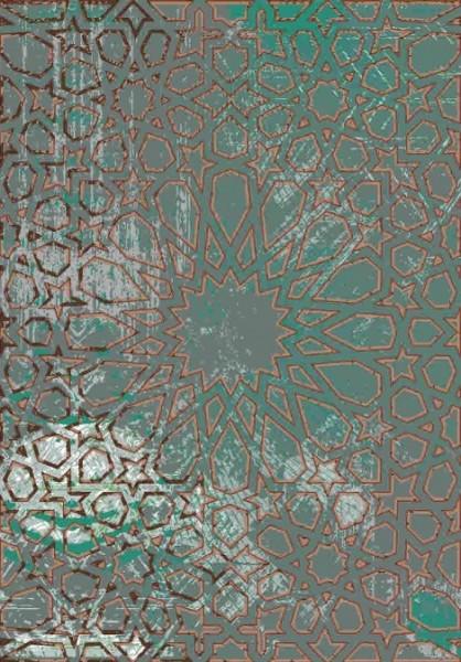 Hochwertiger, persischer Designerteppich, handgeknüpft aus Schurwolle und Seide, türkis/grau/braun/mehrfarbig, Draufsicht