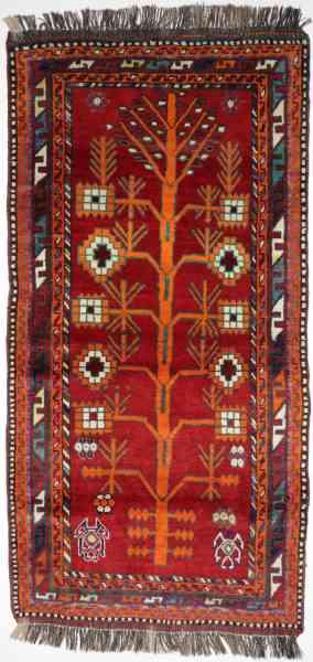 Gabbeh Nomade, handgeknüpft in Süd-Persien, rot/mehrfarbig, Draufsicht