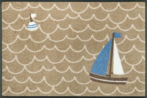 Fußmatte Leinen los, mit Boje und Segelboot, 50 x 75 cm, Draufsicht
