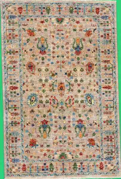Handgeknüpfter Teppich Rubin Natural, reine Schurwolle, 160.000 Knoten/qm, mehrfarbig, Draufsicht