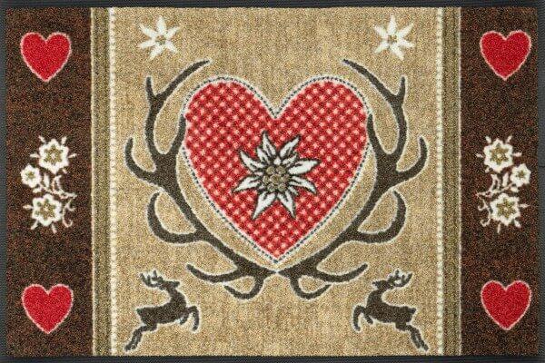 Sauberlaufmatte Wild Hearts, neues wash & dry Design, 050 x 075 cm, Draufsicht