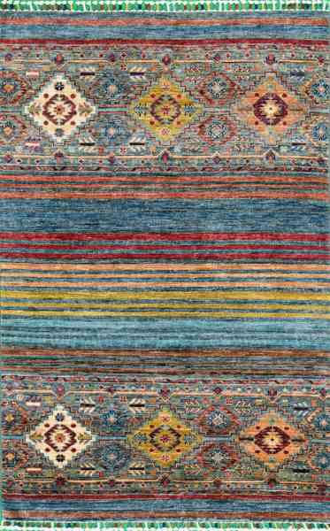 Afghanischer Teppich Smaragd, handgeknüpft aus Schurwolle, mehrfarbig, Draufsicht