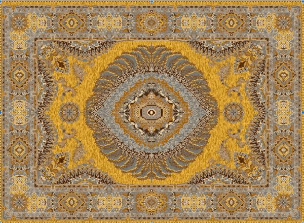 Hochwertiger persischer Designerteppich, handgeknüpft aus reiner Schurwolle und Seide, goldgrundig mit grpßem Mittelmedallion, mehrfarbig, Draufsicht
