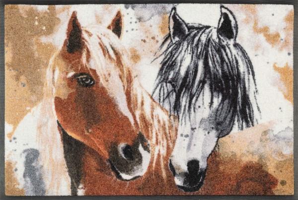 Fußmatte Ginger & Beauty, Pferdeköpfe mehrfarbig, 50 x 75 cm, Draufsicht