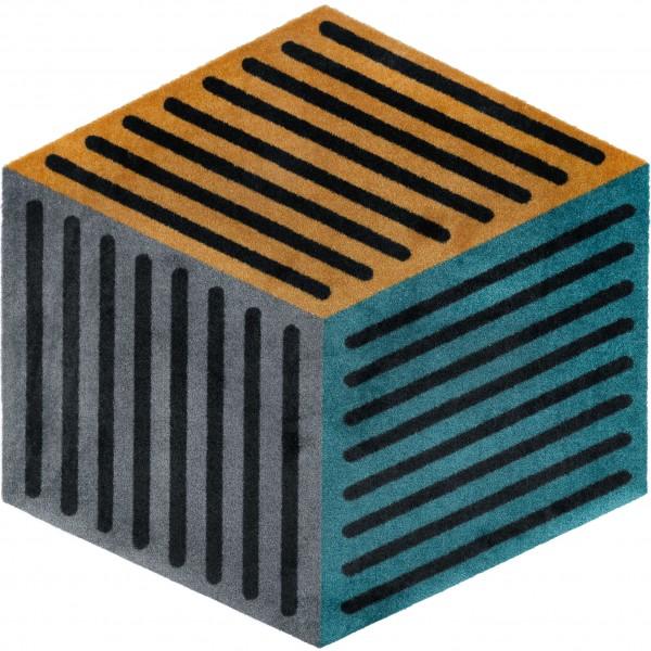 Fußmatte Puzzle Cube peacock, 100 x 100 cm, Draufsicht
