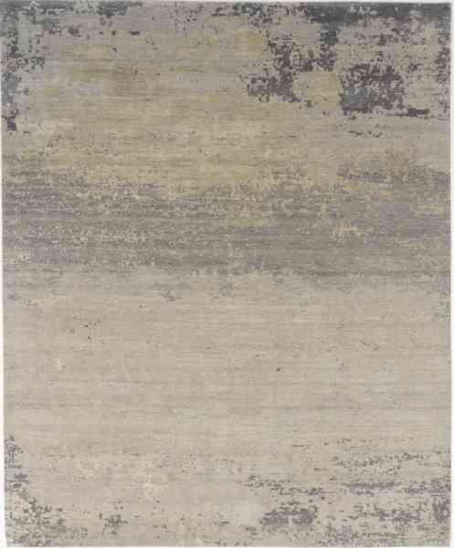 Designerteppich Grunge TVR, reine Handarbeit aus Wolle und Seide, new grey, Draufsicht
