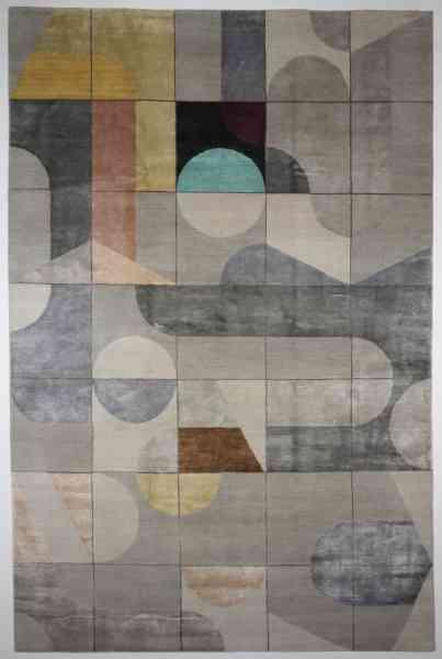 Indischer Designerteppich, handgeknüpft aus Schurwolle und Bambusseide (Viskose), mehrfarbig, Draufsicht