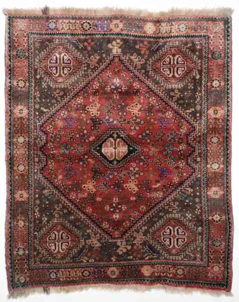 Original persischer Gashgai, handgeknüpft, mehrfarbig, Draufsicht