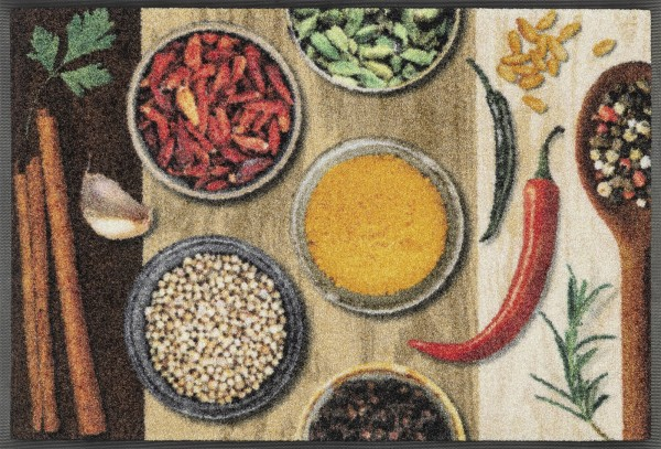 Fußmatte Hot Spices, Wash & Dry Küchenmatte, 50 x 75 cm, Draufsicht