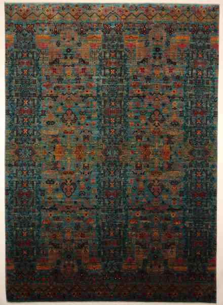 Afghanischer Teppich Shahi Fine, handgeknüpft aus Schurwolle, blaugrundig, mehrfarbig, Draufsicht