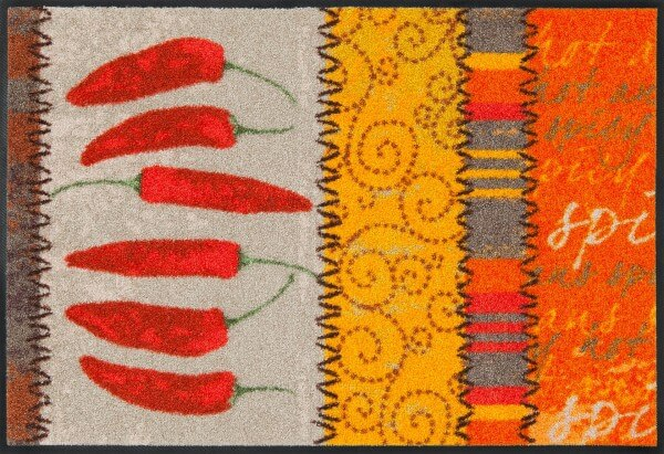 Fußmatte Chili, waschbare Salonloewe Exotic Wohnmatte, mehrfarbig, 050 x 075 cm, Draufsicht