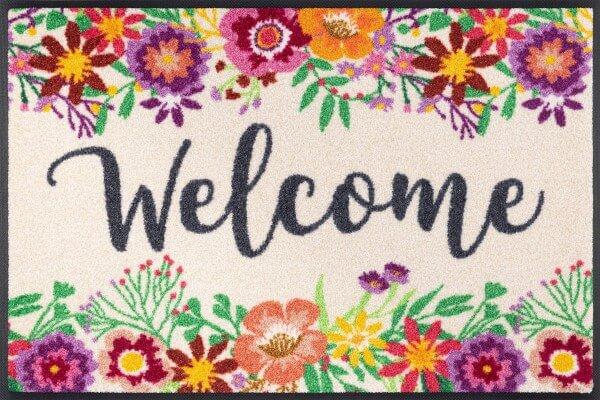 Fußmatte Welcome Blooming, neues Design, mehrfarbig, 50 x 75 cm, Draufsicht