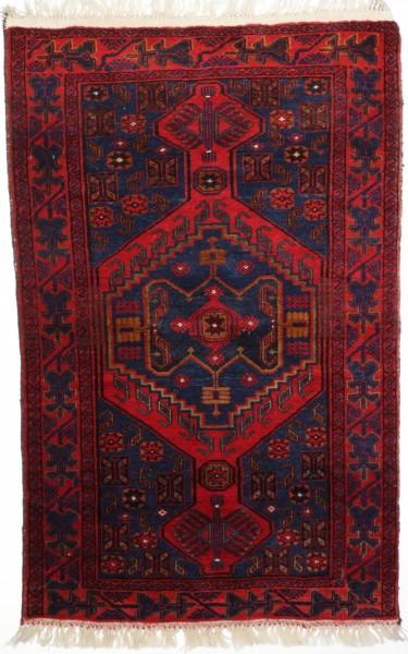 Afghanischer Beloush Teppich,handgeknüpft aus Schurwolle, rot, Draufsicht