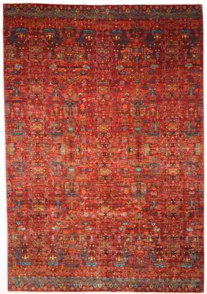 Afghanischer Teppich, modern, dekorativ, zeitlos, Hauptfarbe rot, Draufsicht