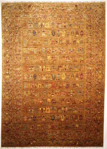 Afghanischer Teppich Rubin gold, handgeknüpft, Schurwolle, Draufsicht