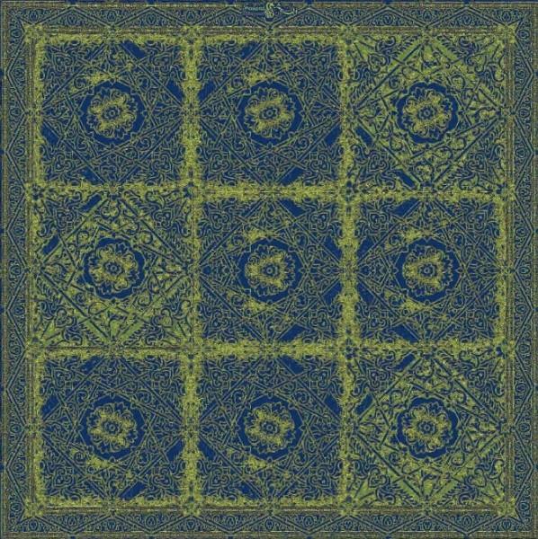 Moderner, persischer Designerteppich handgeknüpft aus Schurwolle und Seide, quadratisch, in verschiedenen grün- und blau-Tönen gefertigt, Draufsichtnd