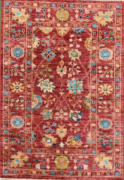 Afghanischer Teppich Rubin Red, reine Schurwolle, handgeknüpft, rotgrundig/mehrfarbig, Draufsicht