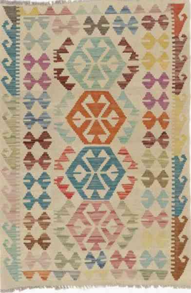 Kelim pastell, afghanisches Kelim Unikat, farbenfroh, 87 x 129 cm, Draufsicht