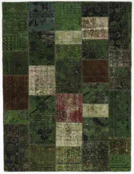 Patchworkteppich konfektioniert aus alten Orientteppichen, neu überfärbt, Rückseite mit Baumwollfutter vernäht, grün, Draufsicht