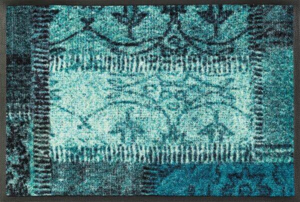 Fußmatte Vintage Patces türkis, Wash & Dry Design, 40 x 60 cm, Draufsicht