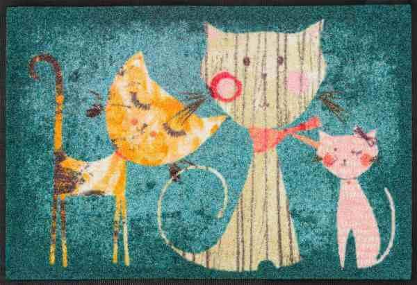 Fußmatte Klara, Lisa & Marie, mehrfarbige Designmatte, 50 x 75 cm, Draufsicht