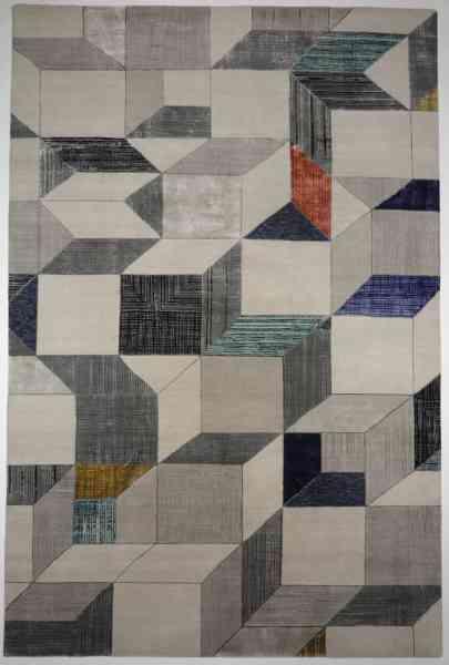 Handgeknüpfter Teppich aus Schurwolle und Bambusseide, gefertigt in Indien, mehrfarbig, Draufsicht