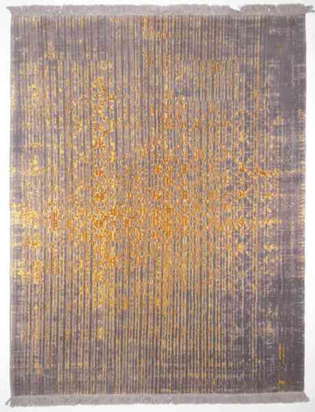 """Persischer Designerteppich aus Schurwolle und Seide, handgeknüpft, graugrundig mit goldenem """"Rainfall"""", Draufsicht"""