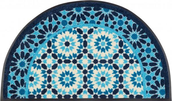 Fußmatte Round Oriental, Sonderform, blau/weiß, 50 x 85 cm, Draufsicht