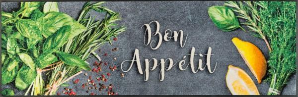 Küchenmatte Bon Appetit, Wash & Dry Sauberlaufmatte, mit Schriftzug und Kräuterbild, 60 x 180 cm, Draufsicht