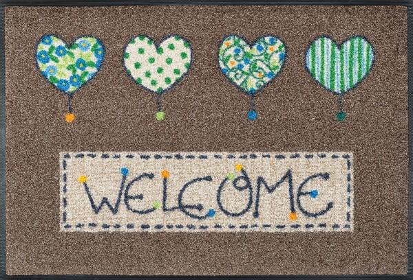 Fußmatte Welcome Hearts, Wash & Dry Enter & Exit, 050 x 075 cm, Draufsicht